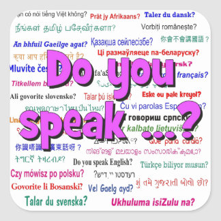 Do you speak ...? Question and background purple Square Sticker
