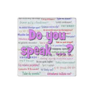 Do you speak ...? Question and background purple Stone Magnet