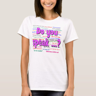 Do you speak ...? Question and background purple T-Shirt