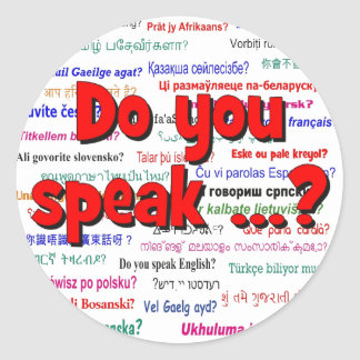Do you speak ...? Question and background red Classic Round Sticker