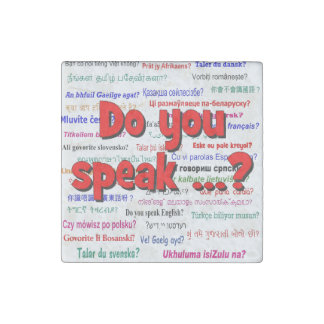 Do you speak ...? Question and background red Stone Magnet