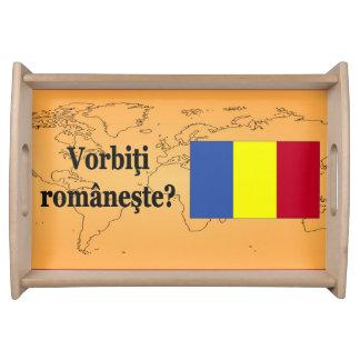 Do you speak Romanian? in Romanian. Flag bf Serving Platter