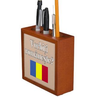 Do you speak Romanian? in Romanian. Flag Pencil Holder
