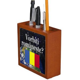 Do you speak Romanian? in Romanian. Flag & Earth Pencil Holder