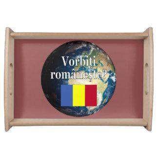 Do you speak Romanian? in Romanian. Flag & Earth Serving Platter