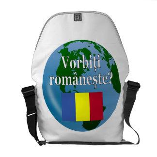 Do you speak Romanian? in Romanian. Flag & globe Courier Bag