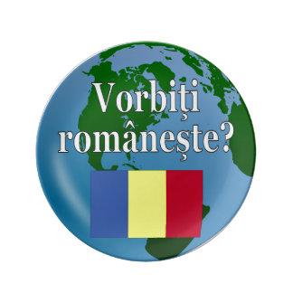 Do you speak Romanian? in Romanian. Flag & globe Porcelain Plates