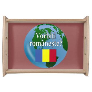 Do you speak Romanian? in Romanian. Flag & globe Food Trays