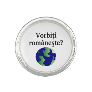 Do you speak Romanian? in Romanian.  With globe Photo Rings