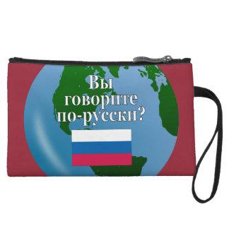 Do you speak Russian? in Russian. Flag & globe Wristlet