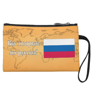 Do you speak Russian? in Russian. Flag wf Wristlet Clutch