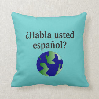 Do you speak Russian? in Russian. With globe Throw Pillow