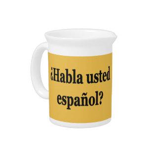 Do you speak Spanish? in Spanish. Flag bf Beverage Pitcher