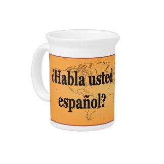 Do you speak Spanish? in Spanish. Flag bf Drink Pitcher