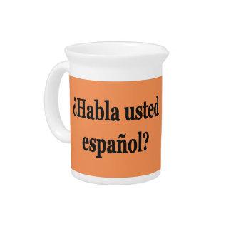 Do you speak Spanish? in Spanish. Flag bf Pitcher