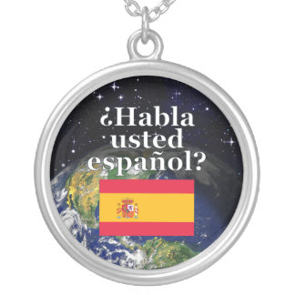 Do you speak Spanish? in Spanish. Flag & Earth Silver Plated Necklace