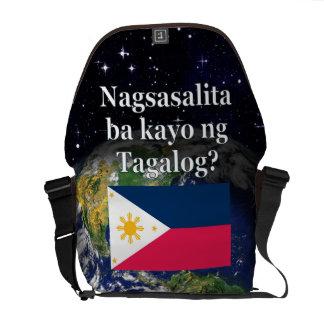 Do you speak Tagalog? in Tagalog. Flag & Earth Courier Bag