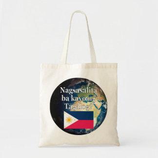 Do you speak Tagalog? in Tagalog. Flag & Earth Tote Bag