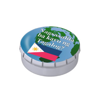 Do you speak Tagalog? in Tagalog. Flag & globe Jelly Belly Candy Tins
