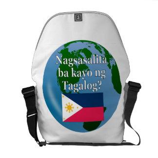 Do you speak Tagalog? in Tagalog. Flag & globe Messenger Bag