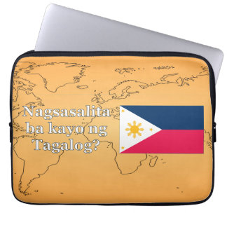 Do you speak Tagalog? in Tagalog. Flag wf Computer Sleeve