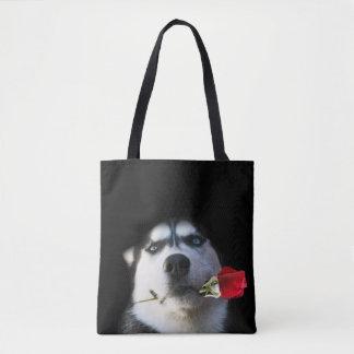 Do You Tango?  Beautiful Husky and Rose Tote Bag