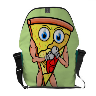 Do You Want A Pizza Me? Funny Surreal Cartoon Courier Bag
