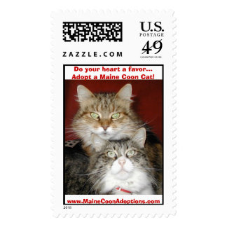 Do your heart a favor...Adopt a Maine Coon Cat!... Stamps