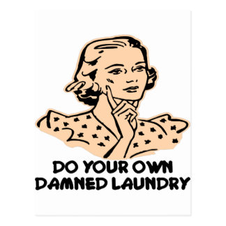 Do Your Own Damned Laundry Retro Postcard