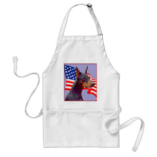 Doaberman Pinscher with Flag Apron