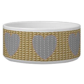 Dob Bowl Gold Ribbed Silver Heart Glitter