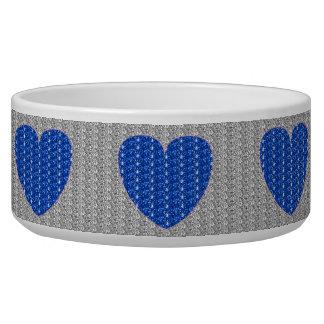 Dob Bowl Silver Blue Heart Glitter