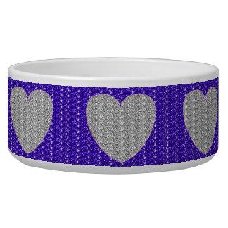 Dob Bowl  Silver Purple Silver Heart Glitter