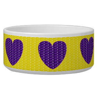 Dob Bowl Yellow Purple Heart Glitter