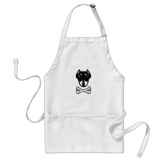 Doberman and bones (editable) apron