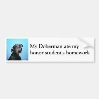 Doberman and honor student humor bumper sticker