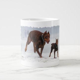 Doberman and Min Pin - LOOK! A Mini Me! 20 Oz Large Ceramic Coffee Mug