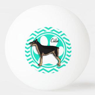 Doberman; Aqua Green Chevron Ping-Pong Ball