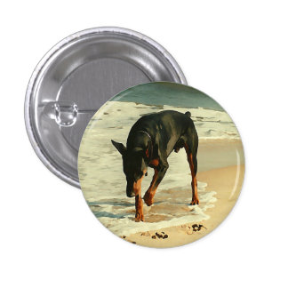 Doberman at the Beach Painting Image 1 Inch Round Button