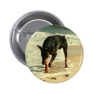 Doberman at the Beach Painting Image 2 Inch Round Button