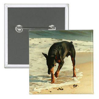 Doberman at the Beach Painting Image 2 Inch Square Button
