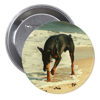 Doberman at the Beach Painting Image 3 Inch Round Button