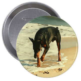 Doberman at the Beach Painting Image 4 Inch Round Button