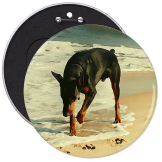 Doberman at the Beach Painting Image 6 Inch Round Button
