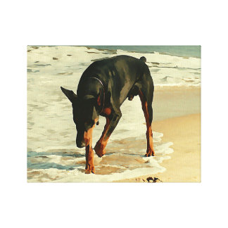 Doberman at the Beach Painting Image Canvas Prints