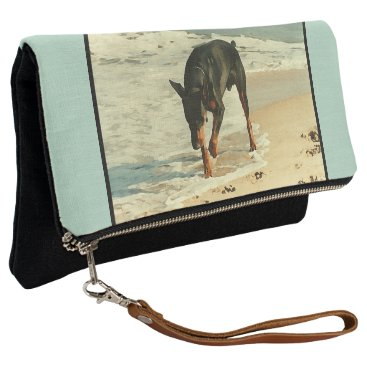 Ocean Themed Doberman at the Beach Painting Image Clutch