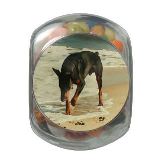 Doberman at the Beach Painting Image Glass Candy Jars