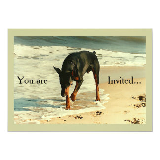 Doberman at the Beach Painting Image 5x7 Paper Invitation Card