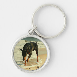 Doberman at the Beach Painting Image Keychain