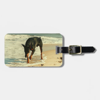 Doberman at the Beach Painting Image Luggage Tag